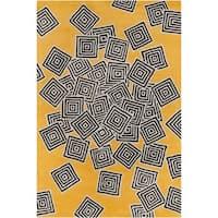 Allie Handmade Geometric Yellow Wool Rug - 5' x 7'6