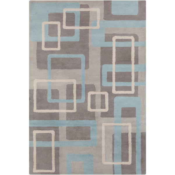 Allie Handmade Geometric Gray/Blue Wool Rug - 5' x 7'6""