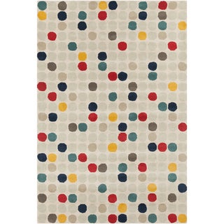"Contemporary Allie Handmade Geometric Cream Wool Rug (5' x 7'6"")"