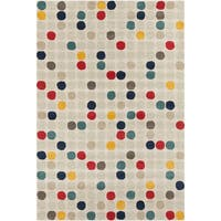 "Contemporary Allie Handmade Geometric Cream Wool Rug - 5' x 7'6"""