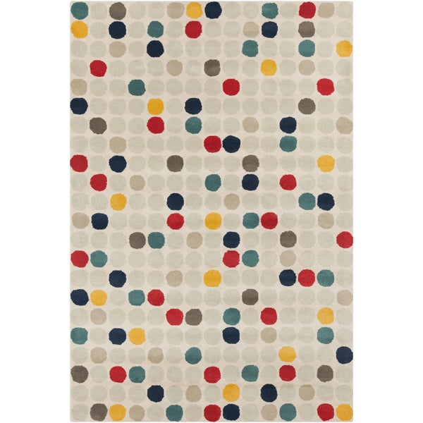 Chandra Stella Patterned Contemporary Wool Beige Aqua Area: Shop Contemporary Allie Handmade Geometric Cream Wool Rug