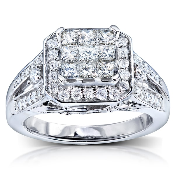Annello by Kobelli 14k White Gold 1ct TDW Diamond Composite Engagement Ring (H-I, I1-I2)