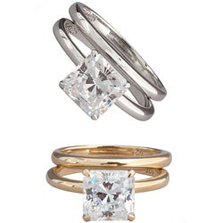 NEXTE Jewelry Sterling Silver Princess-cut CZ Bridal-style Ring Set
