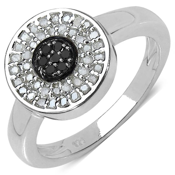 Malaika Sterling Silver 1/4ct TDW Black and White Diamond Ring (I-J, I3)