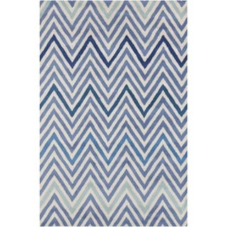 Allie Handmade Geometric Blue/ Cream Wool Rug (5' x 7'6)
