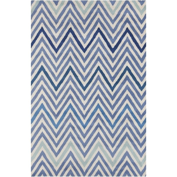 Allie Handmade Geometric Blue/ Cream Wool Rug - 5' x 7'6