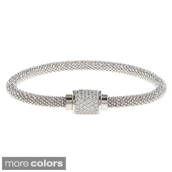 Sterling Silver Cubic Zirconia Popcorn Chain Bangle