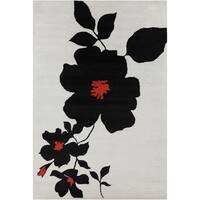 """Allie Handmade Floral Wool Rug with Black-and-Red Print (5' x 7'6"""")"""