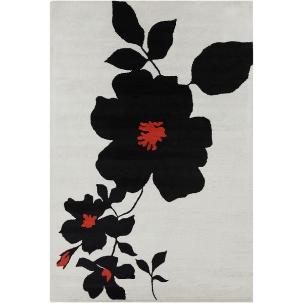 "Allie Handmade Floral Wool Rug with Black-and-Red Print (5' x 7'6"")"