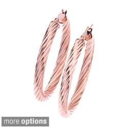 Stainless Steel Colored Twist Hoop Earrings