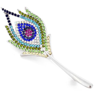 Silvertone Multi-color Crystal Peacock Feather Pin