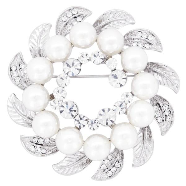 Silvertone Crystal and Faux Pearl Wreath Wedding Brooch