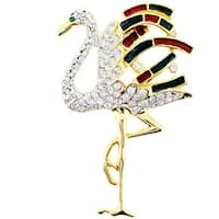 Goldtone Crystal/ Acrylic Christmas Flamingo Pin