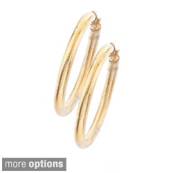 Stainless Steel Colored Ridged Pattern Hoop Earrings By Ever One
