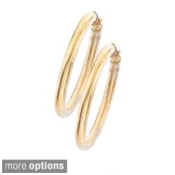 Stainless Steel Colored Ridged Pattern Hoop Earrings