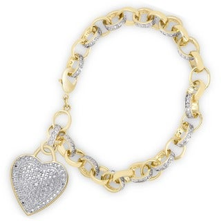 Finesque Silverplated Diamond Accent Heart Charm Bracelet