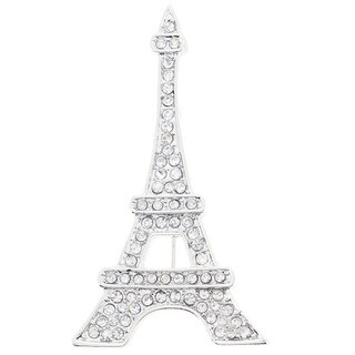 Silvertone Crystal Eiffel Tower Pin Brooch