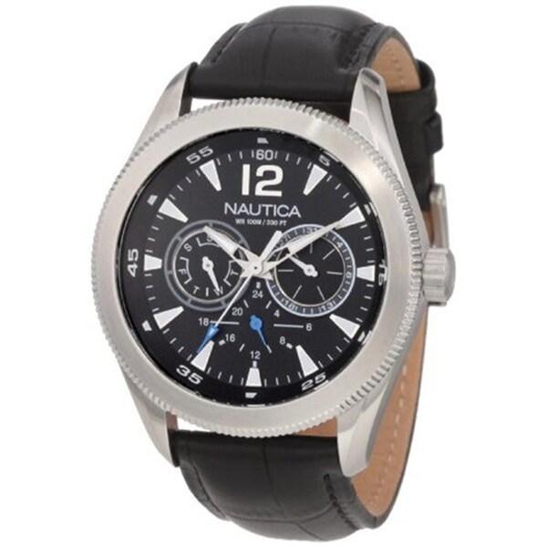 Nautica Men's Black Dial Classic Leather Strap Watch
