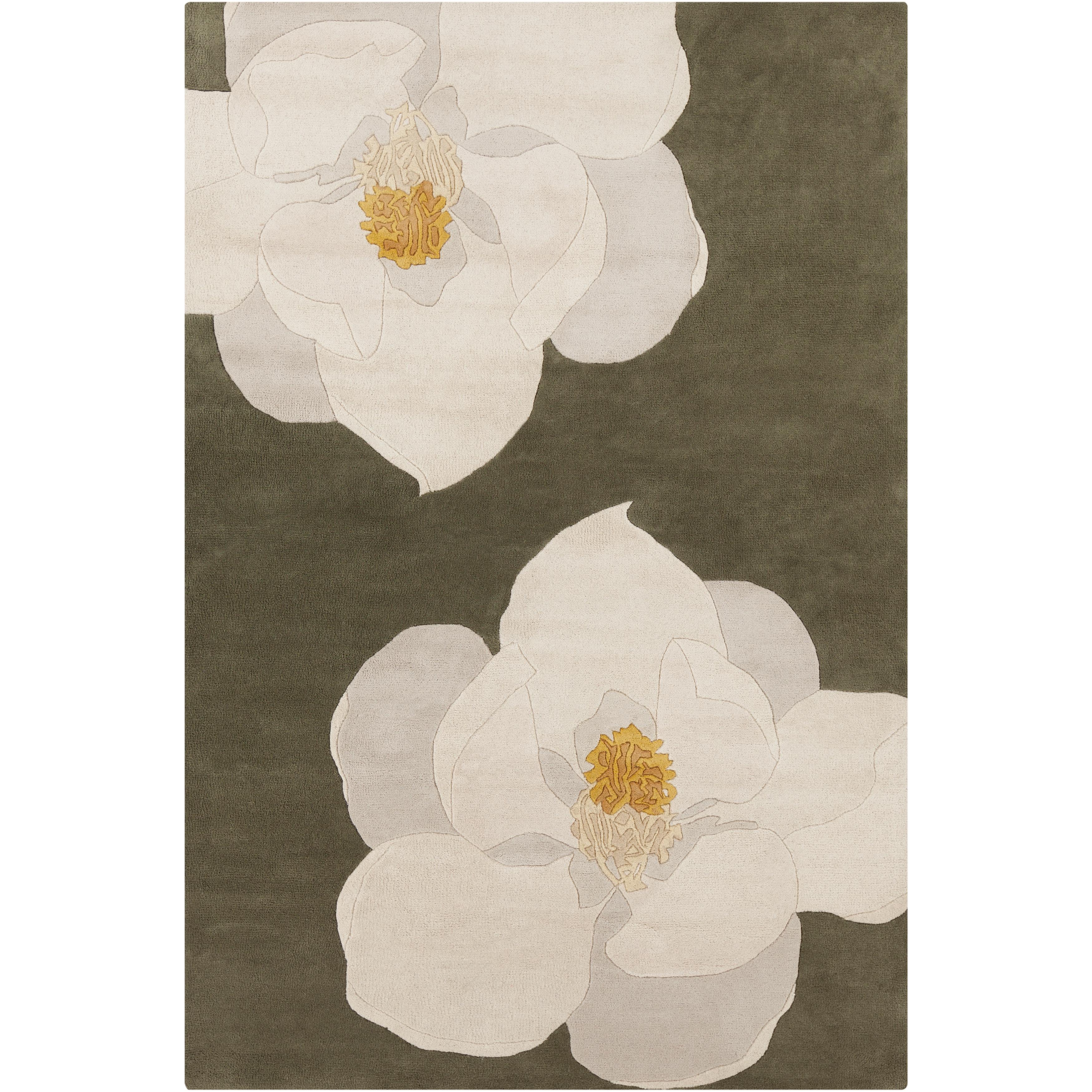 Filament Allie Handmade Floral Green/Yellow Wool Rug (5' ...