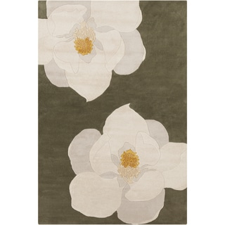 "Allie Handmade Floral Green/Yellow Wool Rug (5' x 7'6"")"