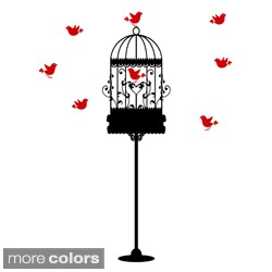 Birdcage Stand with Colored Birds Vinyl Wall Art Decal (More options available)
