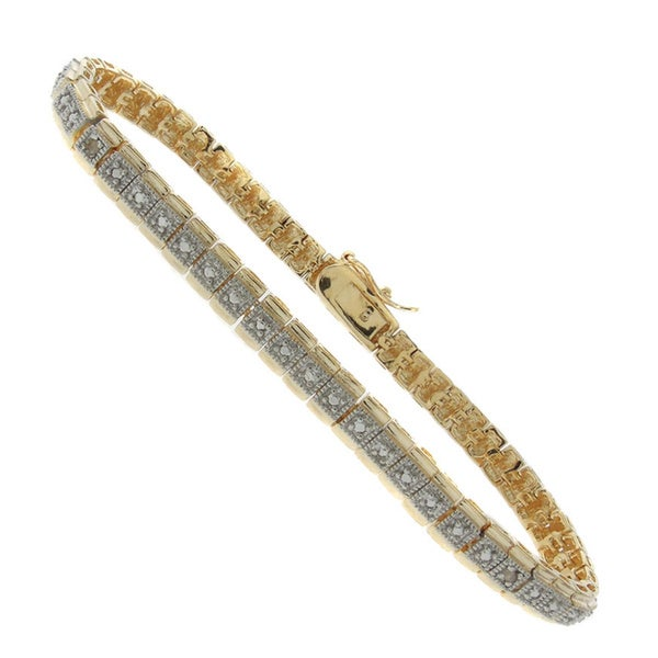 Finesque 14k Gold Overlay Diamond Accent Two-tone Tennis Bracelet