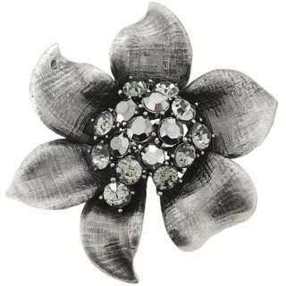 Silvertone Crystal Vintage Style Flower Pin Brooch