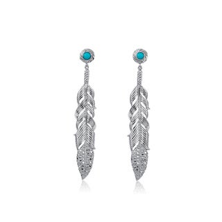 Silver Turquoise and 1/10ct TDW Diamond Feather Earrings (J-K, I2-I3)