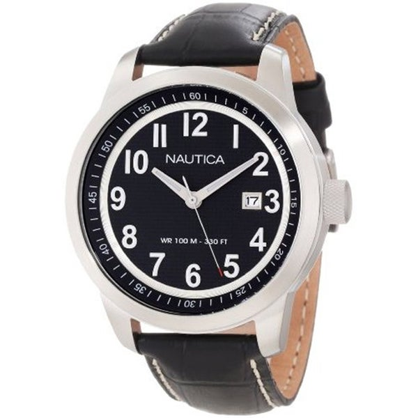 Nautica Men's Black Crocodile Leather Strap Water-resistant Watch