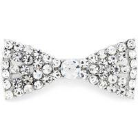 Silvertone Crystal Bowtie Pin Brooch