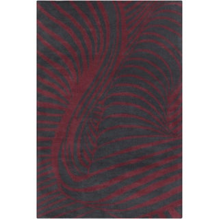 Allie Handmade Abstract Black/ Burgundy Wool Rug (5' x 7'6)