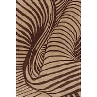 Allie Handmade Abstract Tan/ Brown Wool Rug - 5' x 7'6