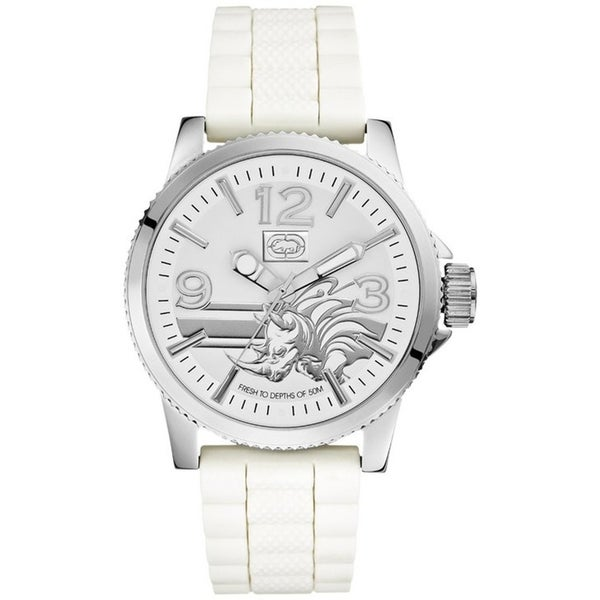 Marc Ecko Men's Silvertone Rhino Logo Watch