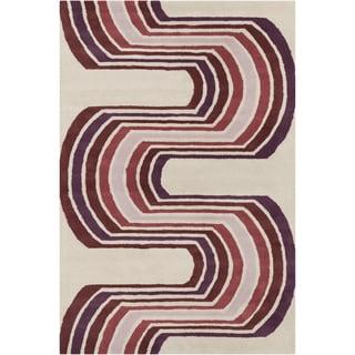 Allie Handmade Abstract Cream Wool Rug (5' x 7'6)