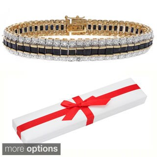 Dolce Giavonna 18k Gold Overlay Sapphire and Diamond Accent Tennis Bracelet with Red Bow Gift Box
