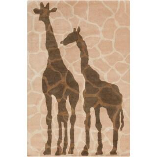 Allie Handmade Giraffe Design Wool Rug (5' x 7'6)