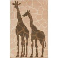"Allie Handmade Giraffe Design Wool Rug - 5' x 7'6"""