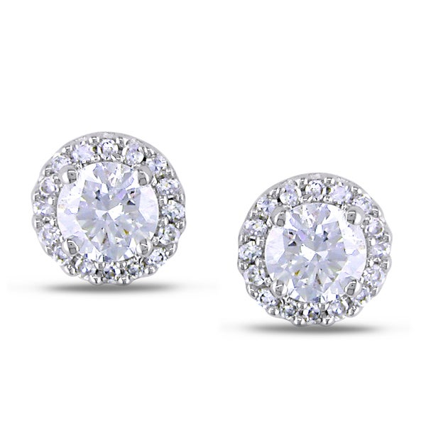 Miadora 18k White Gold 3/5ct TDW Diamond Earrings (G-H, SI1-SI2)