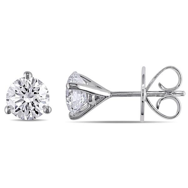 Miadora Signature Collection 18k White Gold 1 7/8ct TDW Round Martini Certified Diamond Earrings