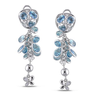 Miadora Signature Collection 18k White Gold Blue Topaz and Diamond Dangle Earrings