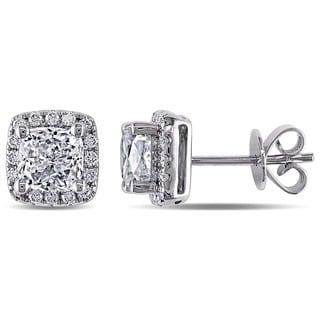 Miadora Signature Collection 14k White Gold 2 1/4ct TDW Diamond Halo Earrings