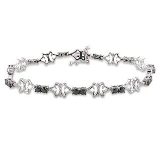 Miadora Sterling Silver 2ct TDW Black Diamond Bracelet