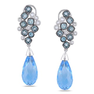 Miadora Signature Collection 14k White Gold Swiss Blue Topaz Earrings
