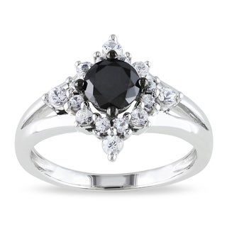 Miadora Silver 1/2ct TDW Black Diamond and Created Sapphire Ring
