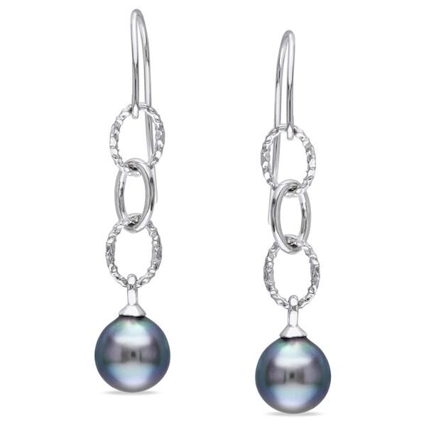 Miadora Sterling Silver Tahitian Black Pearl Charm Earrings