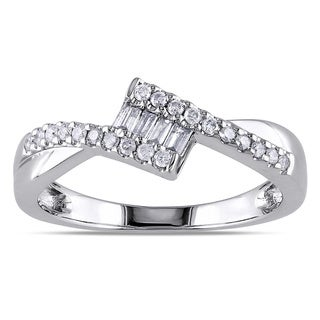 Miadora 10k White Gold 1/4ct TDW Baguette Cut Diamond Ring