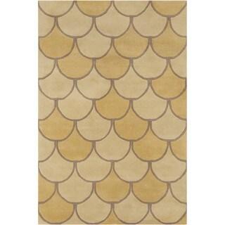 Allie Handmade Abstract Yellow Wool Rug (5' x 7'6)