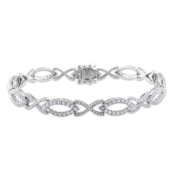 Miadora Signature Collection 10k Gold White Sapphire and 3/4ct TDW Diamond Bracelet (G-H,I1-I2)