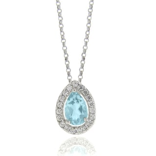 Dolce Giavonna Silverplated Blue Topaz and Cubic Zirconia Teardrop Necklace