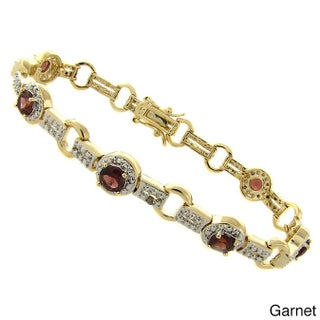 Dolce Giavonna 18k Gold Overlay Gemstone and Diamond Accent Two-tone Circle Bracelet (2 options available)
